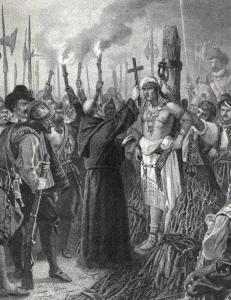 Hatuey being executed in 1512.