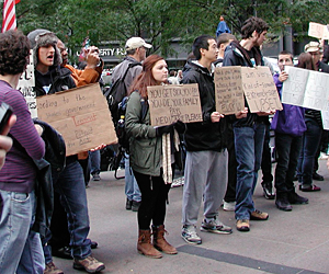A photo of Occupy Wall Street protesters, taken on Saturday, October 22, 2011. Credit William Loren Katz.