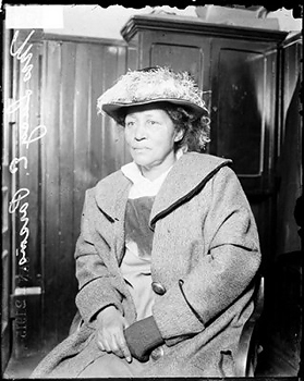 Lucy E. Parsons, arrested for rioting during an unemployment protest in 1915 at Hull House in Chicago, Ill. Courtesy of the Chicago Historical Society.