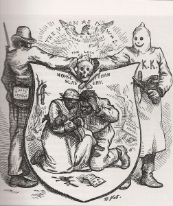1874 Thomas Nast cartoon opposing the Ku Klux Klan.